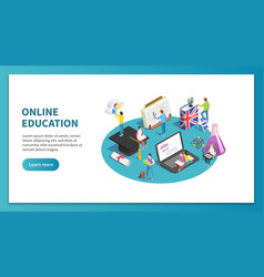 online education isometric concept internet vector image