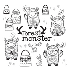 Outline hand drawn cartoon funny monsters vector
