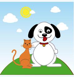 Pet design over landscape background vector