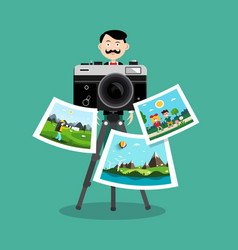 photographer with printed pictures and retro vector image
