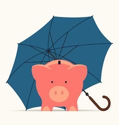 Piggy Bank Standing Under an Umberella vector