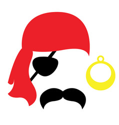 Pirate photo booth props face set - mustache vector