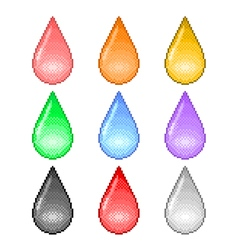 Pixel colorful drops icons set vector image