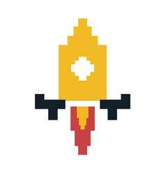 Pixel rocket icon image vector