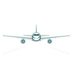 plain blue painted outline passenger jet from vector image