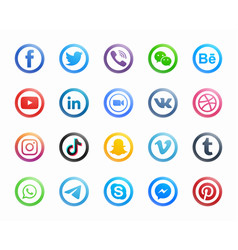 popular social media round modern icons set vector image