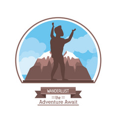 Poster color silhouette of wanderlust the vector