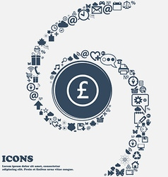 Pound sterling icon sign in the center Around the vector
