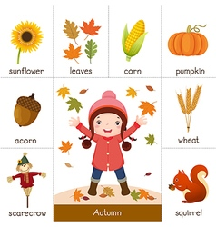 Printable flash card for autumn and little girl vector
