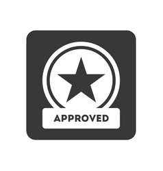 Quality control icon with approved symbol vector
