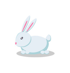 Rabbit long pink ears flat style design toy vector