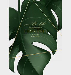 realistic 3d monstera leaves poster modern trendy vector image