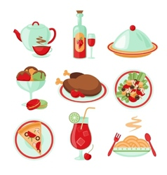 Restaurant food icons vector image