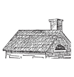 roof building vintage engraving vector image