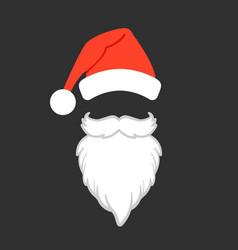 santa claus hat and beard santa claus vector image