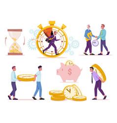 savings sandglass stopwatch piggy bank time money vector image