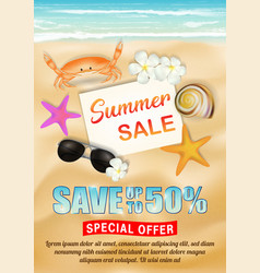 sea sand beach summer sale poster vector image