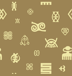 seamless pattern with adinkra symbols vector image