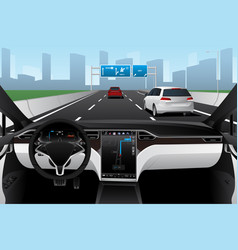 Self driving car on a road autonomous vehicle vector