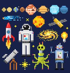 Set of space stars alien spaceman robot rocket vector