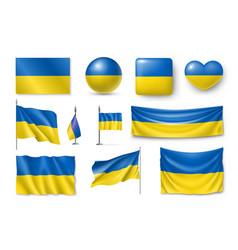 set ukraine flags banners banners symbols flat vector image