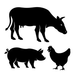 silhouettes animals set black vector image