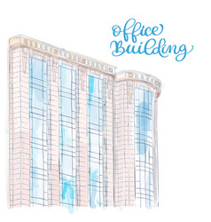 sketch of modern office building doodle style vector image