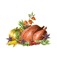 thanksgiving fried turkey with vegetables vector image