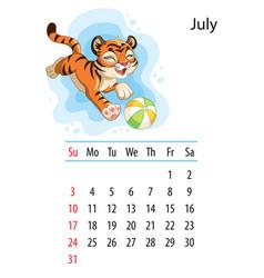 Tiger wall calendar design template for july 2022 vector