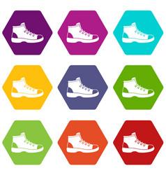 tourist shoe icon set color hexahedron vector image