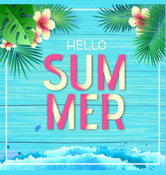 typography hello summer beach party poster vector image