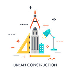 urban construction flat concept vector image