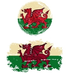 Welsh round and square grunge flags vector