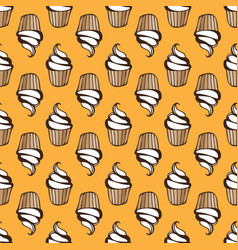 white cream cupcake seamless yellow pattern vector image