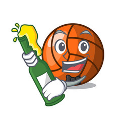 with beer volleyball mascot cartoon style vector image