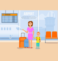 Woman traveling together with little son airplane vector