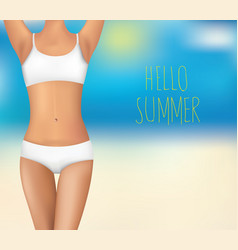 women body and text hello summer vector image