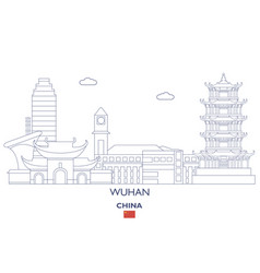 Wuhan city skyline vector