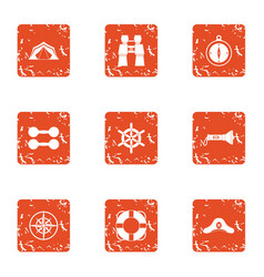 yacht trip icons set grunge style vector image