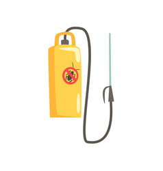 Yellow manual sprayer for extermination of insects vector