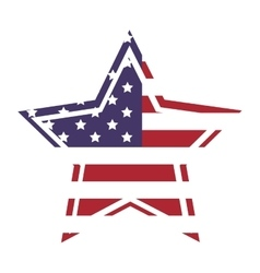 American flag star icon with outline vector image