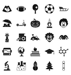 apprentice icons set simple style vector image vector image