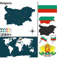 Bulgaria map world vector image vector image