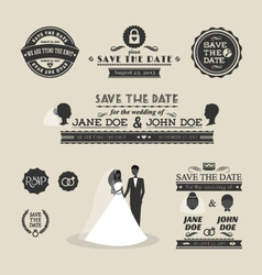 Set of wedding typography vector