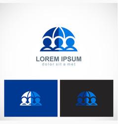 three people save umbrella logo vector image vector image