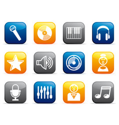 audio and music icons on buttons vector image vector image