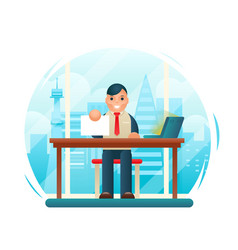 businessman sitting table with paper contract corm vector image