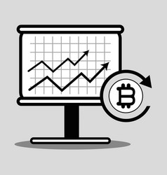 line cryptography icon bitcoin money currency vector image vector image