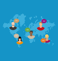 world map with people avatars social netwroking vector image vector image