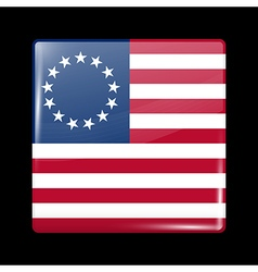 American betsy ross flag glossy icon square shape vector